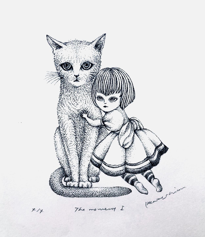 「猫と少女」 The moment Ⅰ w100×h140mm 2019 lithograph