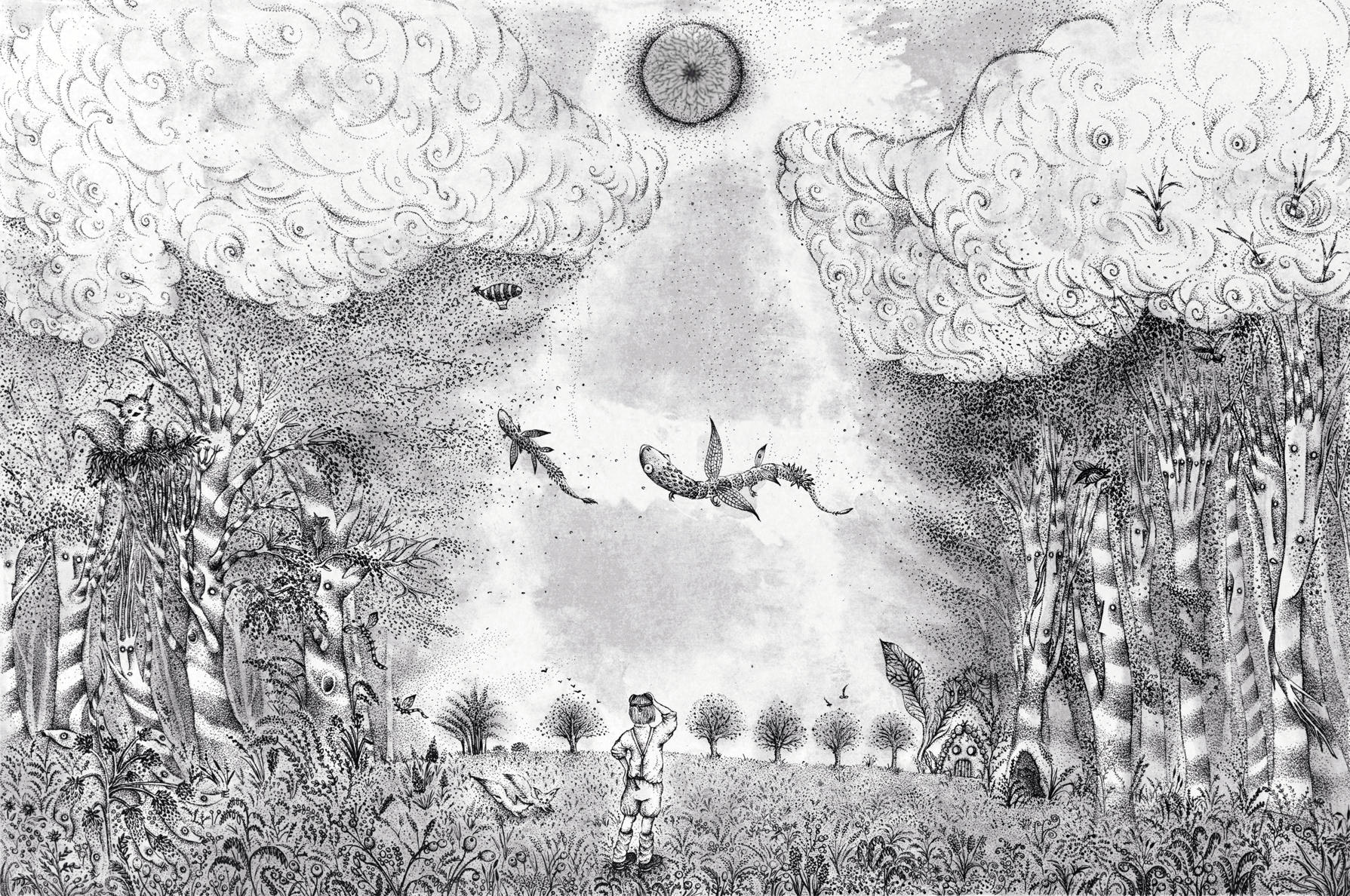 『少年と光の木』色をなくした光の木 A boy and a tree of light - A world without color- w600×h400mm 2014 lithograph