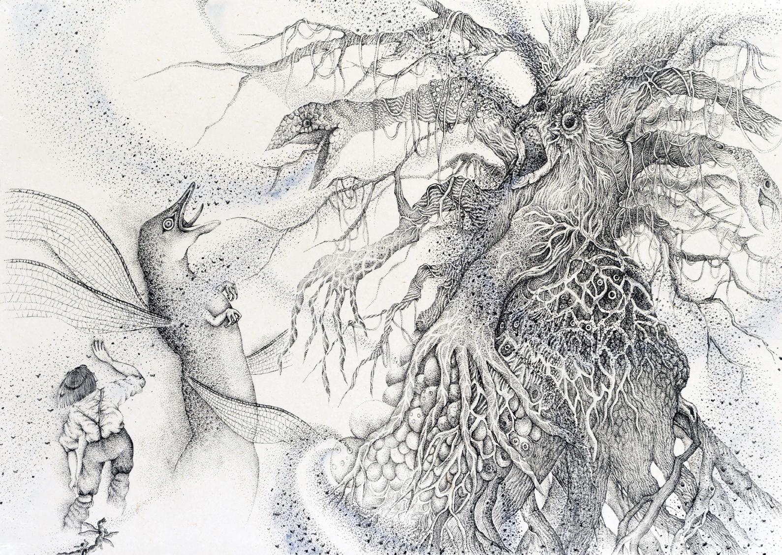『少年と光の木』虫を吐く The boy and the tree of light -Blow out bugs - w630×h450mm 2015 lithograph