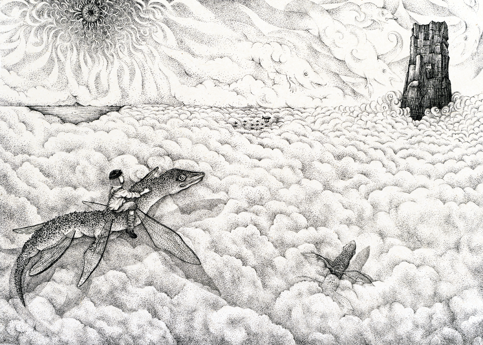 『少年と光の木』雲海 A boy and a tree of light -Sea of clouds - w550×h400mm 2015 lithograph