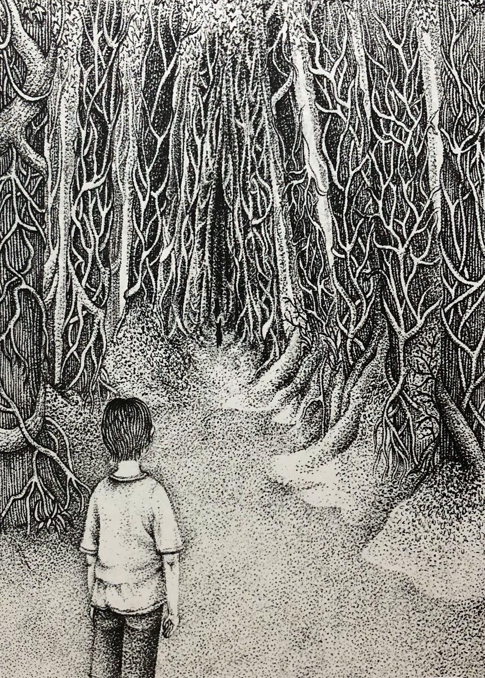 """『キミハダレ』 森 """"Who Are You?"""" -in the forest- w160×h220mm 2019 lithograph"""